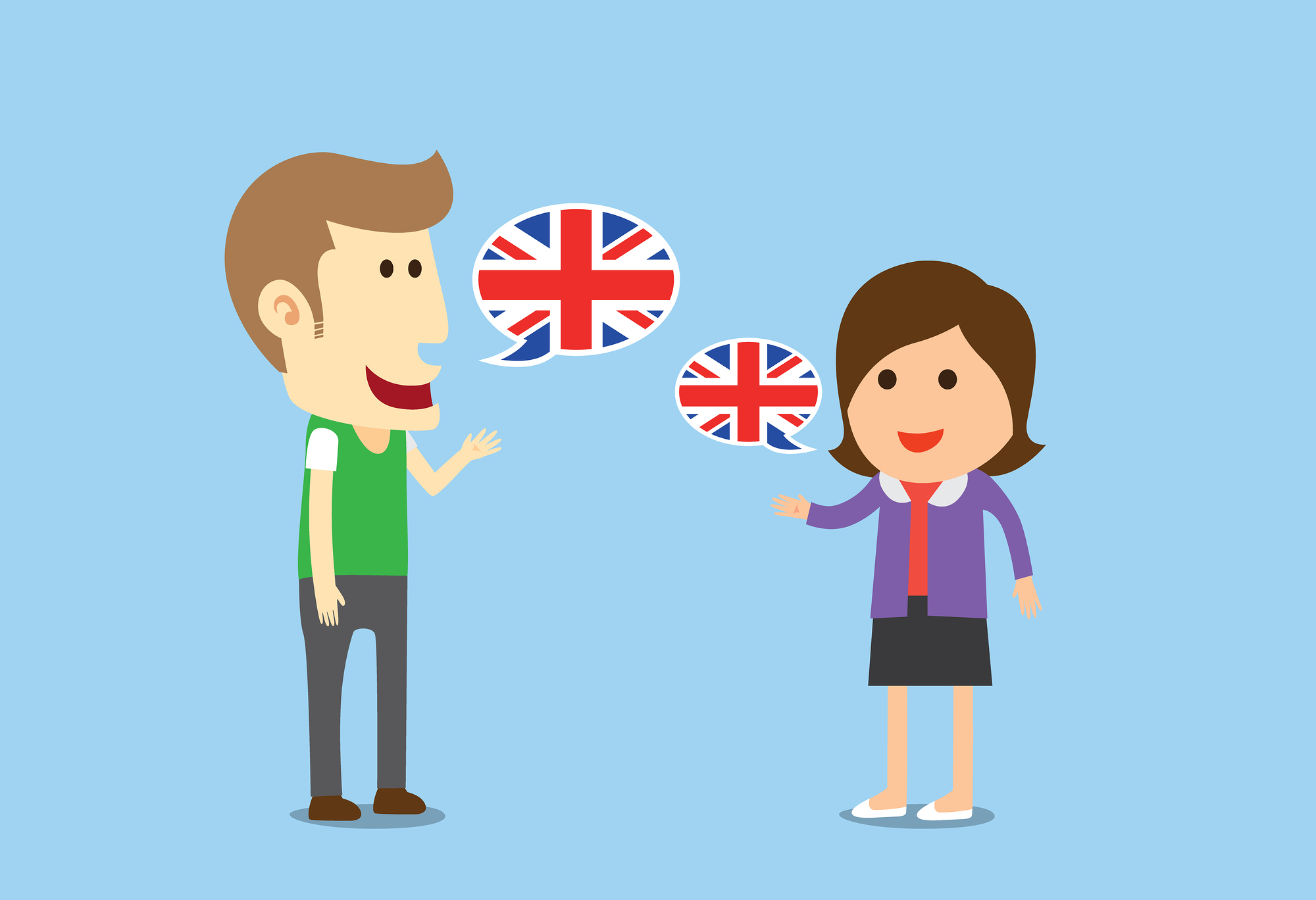 Women and man speaking English in conversation of them